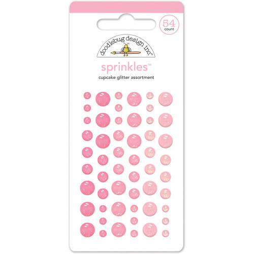 Doodlebug Sprinkles Glitter Enamel Sticker Dots: Cupcake
