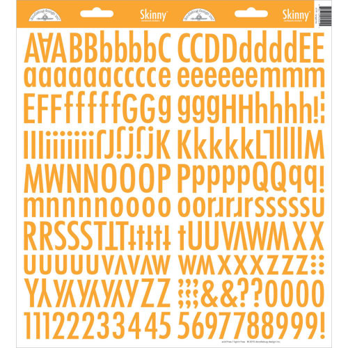 Doodlebug Skinny Cardstock Alphabet Stickers: Tangerine