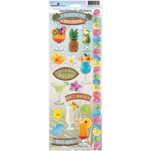 Paper House Productions Cardstock Stickers: Tropical Drinks
