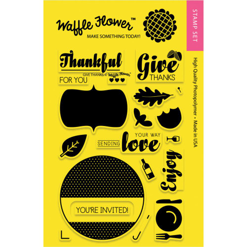 CLEARANCE | Waffle Flower Crafts Coordinating Die/Stamp Combos: Give Thanks