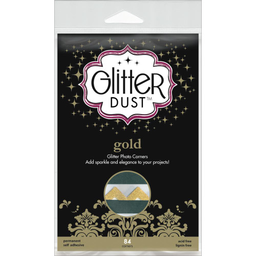 Therm-O-Web Glitter Dust Photo Corners: Gold