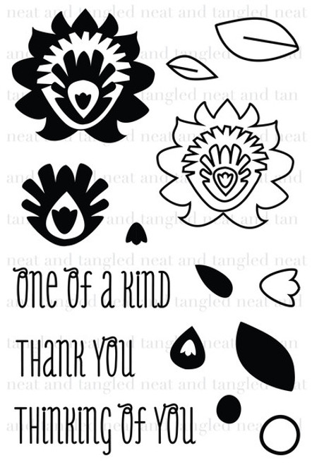Neat & Tangled 4x6 Clear Stamps: Paper Cut Flowers