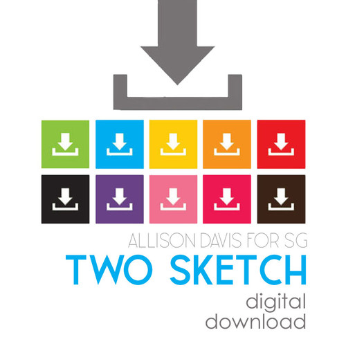 * DIGITAL DOWNLOAD * TWO SKETCHES - Square Elements | Two Page Layouts