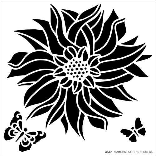 Hot Off The Press 6x6 Stencil: Dahlia