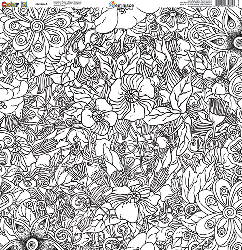 CLEARANCE | Reminisce Color It! 12x12 Scrapbook Paper: Number 6