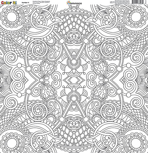 CLEARANCE | Reminisce Color It! 12x12 Scrapbook Paper: Number 4