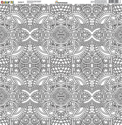 CLEARANCE | Reminisce Color It! 12x12 Scrapbook Paper: Number 3