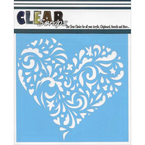 ClearScraps 6x6 Stencil: Swirl Heart