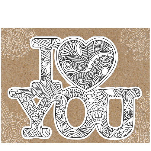 Paper House Diecut Coloring Cards: I Love You
