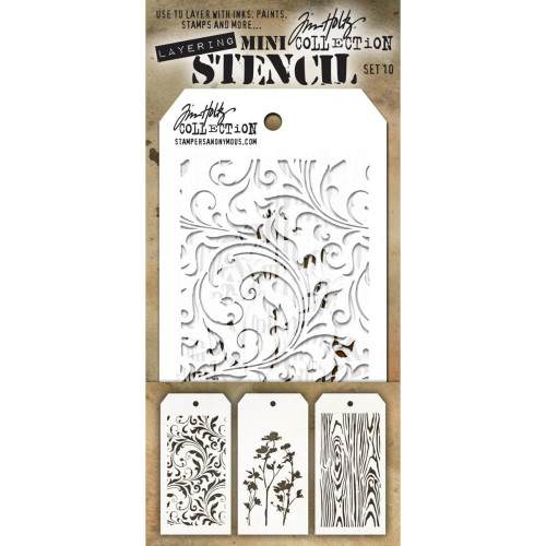 Tim Holtz Mini-Stencil Sets (3/Pkg): Set 10