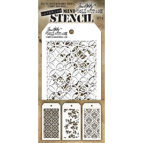 Tim Holtz Mini-Stencil Sets (3/Pkg): Set 4