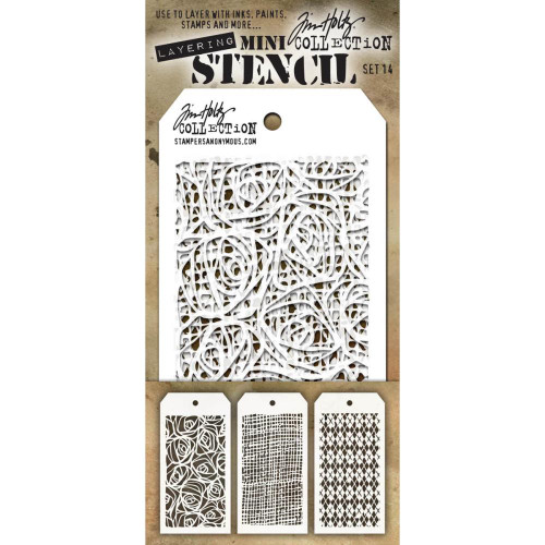 Tim Holtz Mini-Stencil Sets (3/Pkg): Set 14