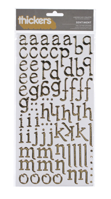 American Crafts Thickers: SENTIMENT | Gold Foil Chipboard
