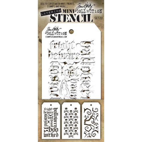Tim Holtz Mini-Stencil Sets (3/Pkg): Set 23