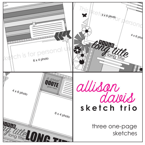 2016 NOVEMBER SKETCH TRIO: 4x6 Photos - One Page
