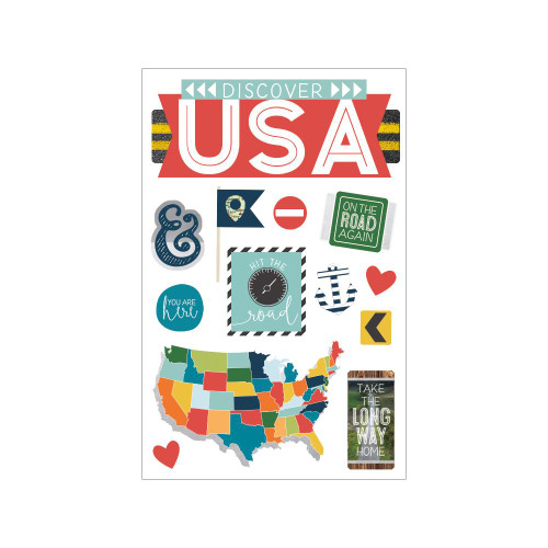 Paper House Productions Discover USA 3D Stickers: Discover USA