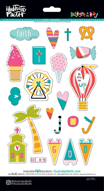 CLEARANCE | Illustrated Faith Delight in His Day Icons Puffy Stickers