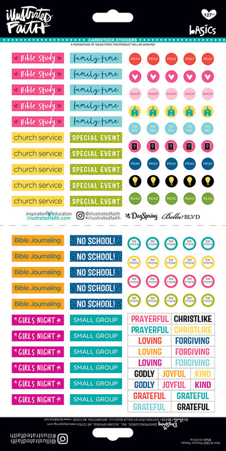 CLEARANCE | Illustrated Faith Basics 6x12 Stickers: Planner Pieces