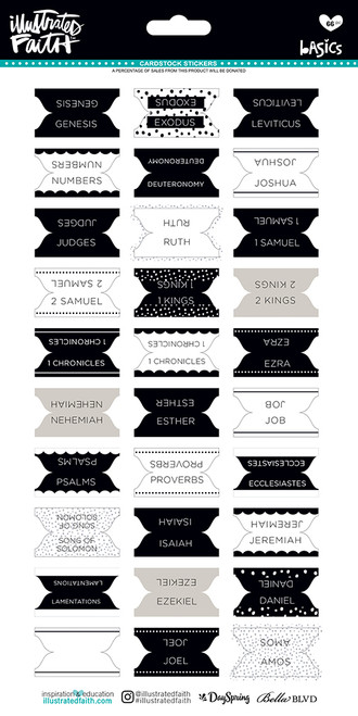 Illustrated Faith Basics 6x12 Stickers: Bible Books Tabs B&W