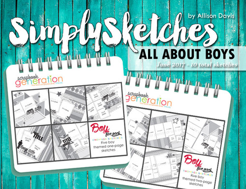 * DIGITAL DOWNLOAD * TEN SKETCHES - All About Boys | One & Two Page Layouts