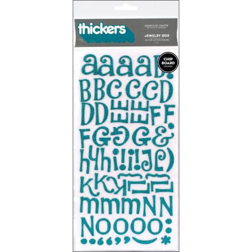 American Crafts Thickers: JEWELRY BOX | Aqua Glitter Chipboard