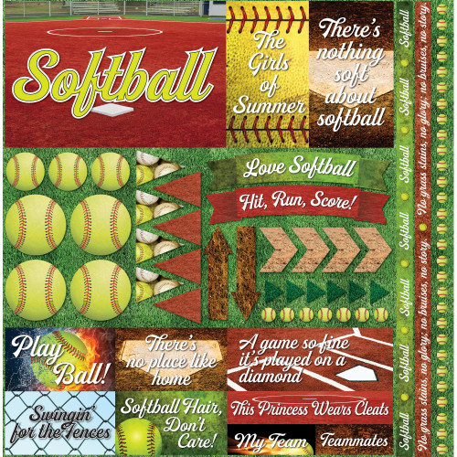 "Reminisce The Softball Collection ""2"" 12x12 Poster Sticker"