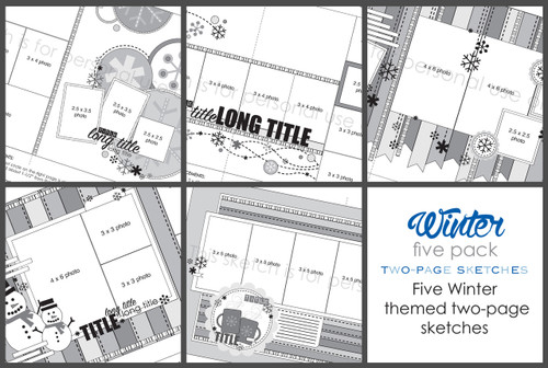 5-PACK: January 2018 | Winter Themed (Two Page Layouts)