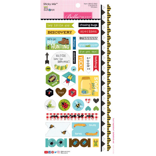 Bella Blvd Bug Explorer Sticky Mix Cardstock Stickers