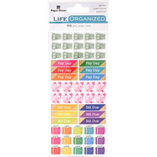 Paper House Life Organized Stickers: Budget (3 sheets)