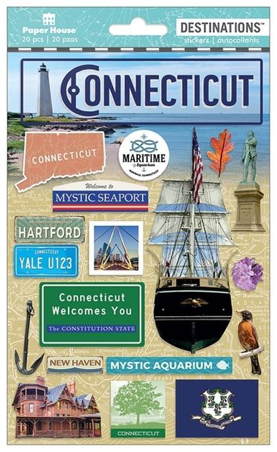 Paper House Productions Destinations Stickers: Connecticut