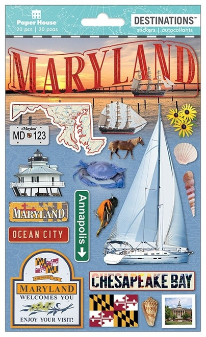 Paper House Productions Destinations Stickers: Maryland