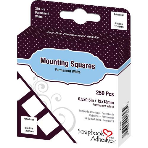 Scrapbook Adhesive Permanent Mounting Squares - White (250/Pkg)