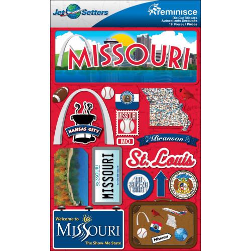 Reminisce Jet Setters Dimensional Stickers: Missouri