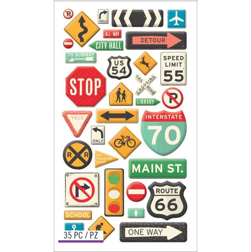 Sticko Puffy Stickers: Road Signs