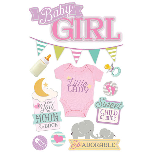 Paper House Productions 3D Stickers: Baby Girl