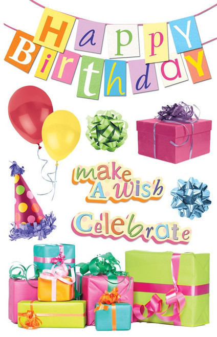 Paper House Productions 3D Stickers: Happy Birthday Banner