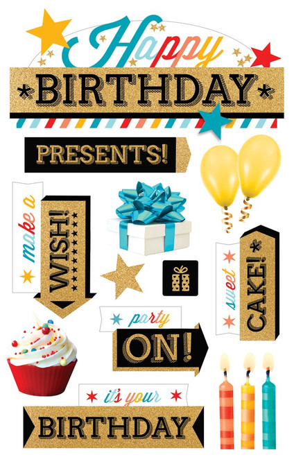 Paper House Productions 3D Stickers: Happy Birthday (Gold)