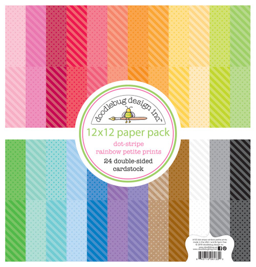 Doodlebug Rainbow 12x12 Petite Print Paper Pack: Dot / Stripe
