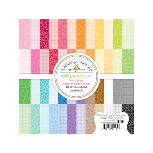 Doodlebug Rainbow 6x6 Paper Pad: Floral / Graph
