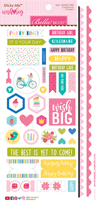 Bella Blvd Wish Big Girl Sticky Mix Cardstock Stickers