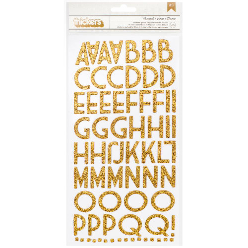 American Crafts Thickers: WISECRACK | Gold Glitter Chipboard