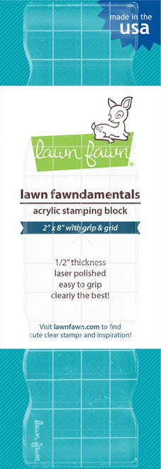 "Lawn Fawn Acrylic Stamping Block: 2x8"" w/Grip and Grid"