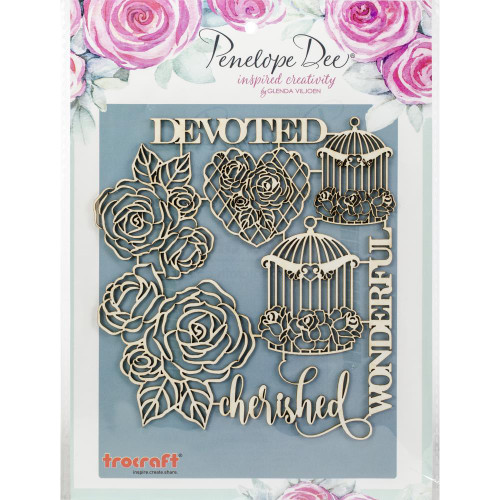 Penelope Dee Mother of Pearl Paperboard Shapes: Birdcages & Roses