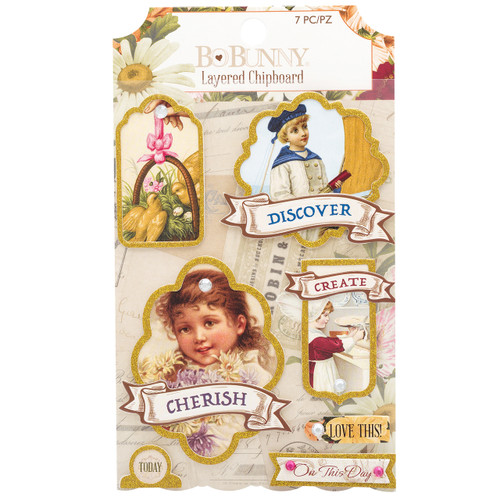 BoBunny Banner Year Layered Chipboard Stickers