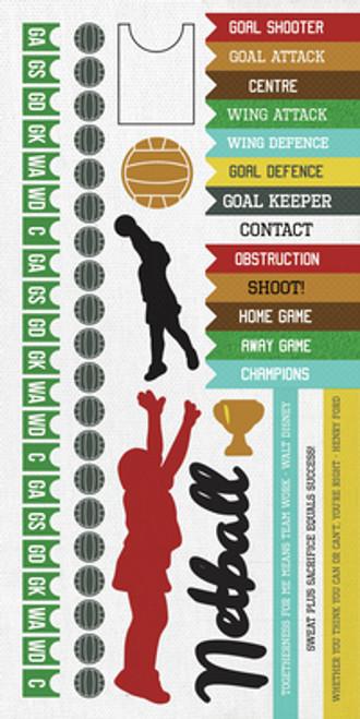 KaiserCraft Game On! 6x12 Sticker Sheet: Netball