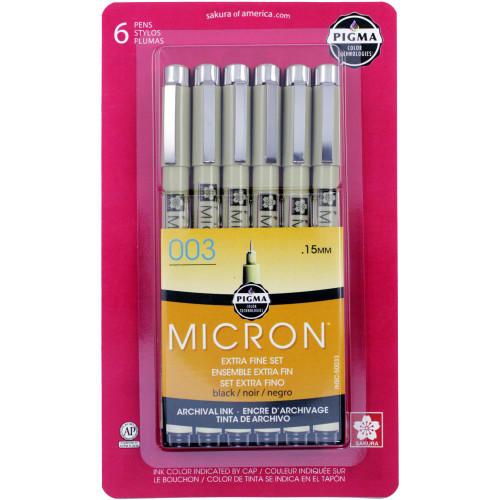 Sakura Pigma Micron Pen Extra Fine Set - Black (6 pk)