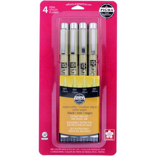 Sakura Pigma Micron Pen Extra Fine Set - Black & Sepia (4 pk)