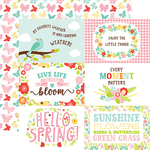 Echo Park Spring Fling 12x12 Paper: 4X6 Journaling Cards
