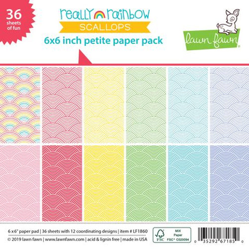 Lawn Fawn 6x6 Paper Pad: Really Rainbow Scallops