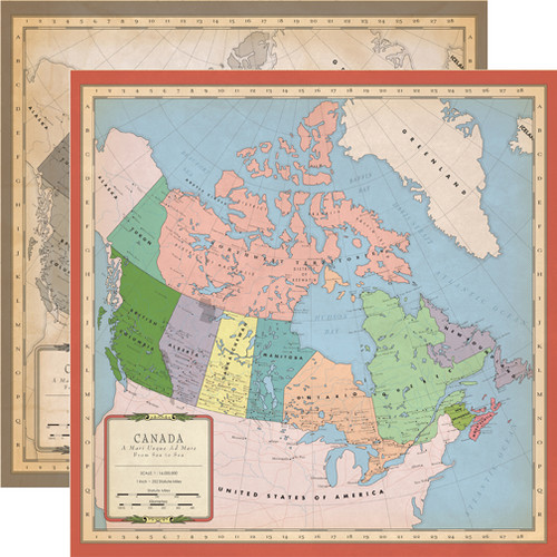 Carta Bella Cartography No. 1 12x12 Paper: Canada Map